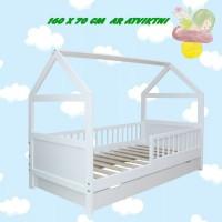 Bērnu gulta - mājiņa ar ATVIKTNI 160 x 70 cm