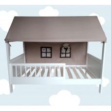 Koka gultiņa - namiņš ar auduma jumtiņu 140 x 70 cm